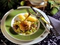 Geschmortes Hähnchen, Speck-Wirsing mit Kastanien und Kartoffeln Rezept