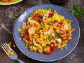 Hähnchen-Paella mit Garnelen und Chorizo Rezept