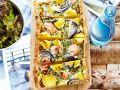 Lachs-Spinat-Tarte mit Kartoffeln und Zwiebeln Rezept
