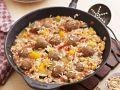 Reispfanne mit Hackfleischklößchen auf orientalische Art Rezept