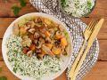 Seitan-Frikassee mit Petersilien-Reis und gebratenen Champignons Rezept