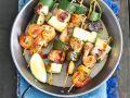 Spieße mit Garnelen, Zucchini und Lachs Rezept