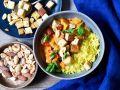 Tofu-Gemüse-Curry mit Reis und Nüssen Rezept
