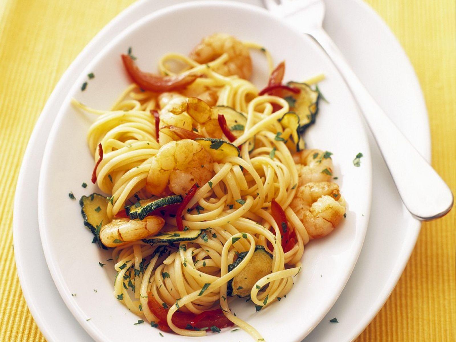 Zucchini spaghetti rezept mit garnelen