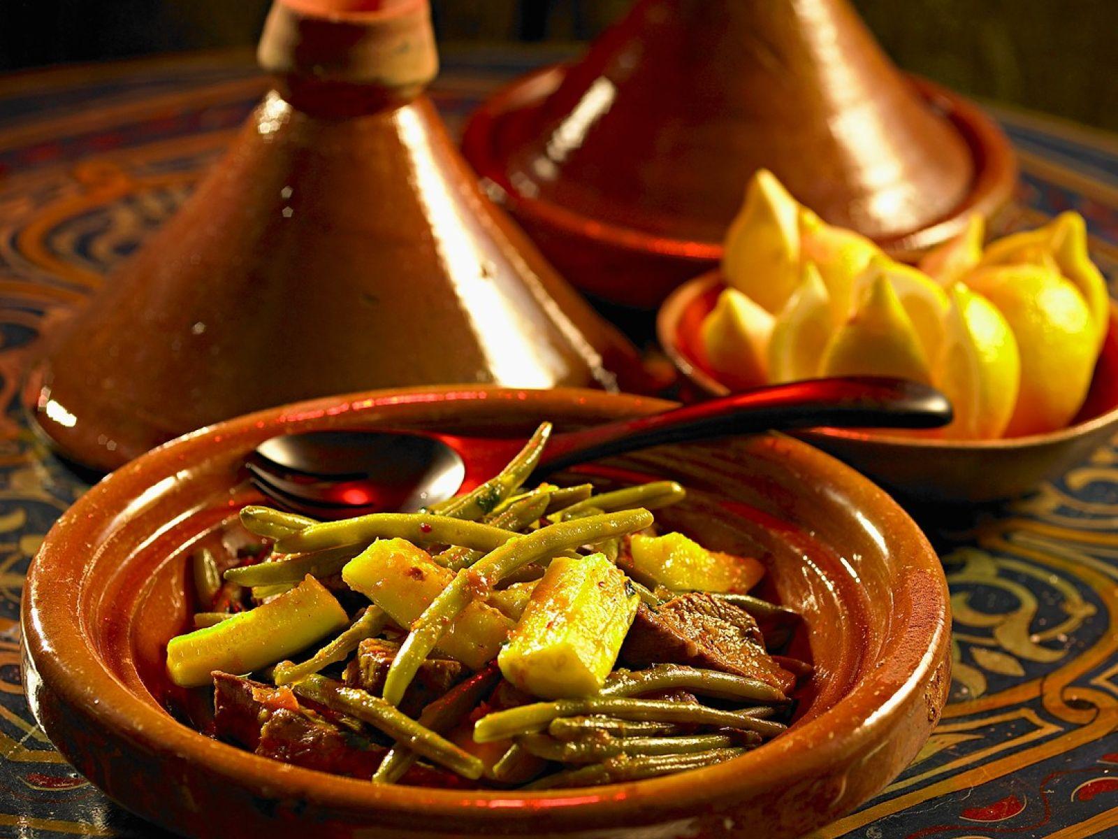Tajine mit Rindfleisch, Zucchini und Bohnen