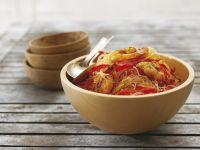 Asiatische Nudeln mit Garnelenschwänzen Rezept