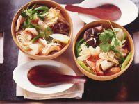 Asiatische Nudelsuppe mit Riesengarnelen Rezept