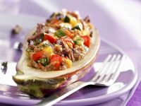 Aubergine mit Hack-Paprika-Füllung Rezept