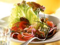 Austernpilze mit Bataviasalat und Tomaten Rezept