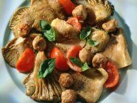Austernpilze mit Tomaten und Mettbällchen Rezept