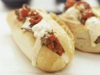 Baguette mit Paprika und Rindfleischstreifen