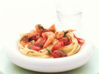 Bavette mit Tomaten-Garnelen-Sugo Rezept