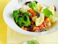 Blumenkohl-Brokkoli-Suppe mit Polentanocken