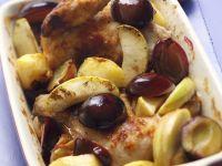 Brathähnchen mit Äpfeln und Pflaumen Rezept