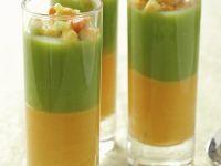 Brokkoli- und Kürbissuppe mit Meeresfrüchten