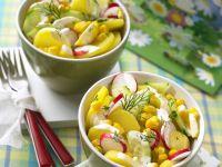 Bunter Kartoffelsalat mit Gurke und Radieschen Rezept