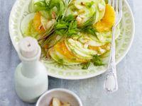 Carpaccio mit Orange, Kohlrabi und Giersch-Erdnuss-Pesto Rezept