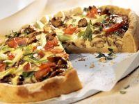 Champignon-Quiche mit Lauchzwiebeln und Schinken Rezept