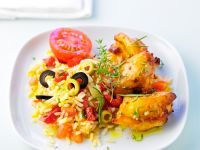 Chickenwings mit Olivenreis Rezept