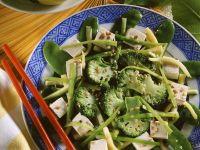 Chinapfanne mit Tofu und grünem Gemüse