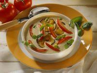Cremige Auberginensuppe mit Schmortomaten Rezept