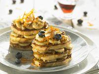 Crumpets mit Blaubeeren und Bananen Rezept