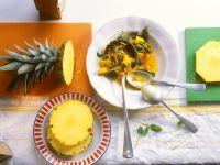 Curry mit Ananas, Spinat, Zwiebeln und Tomaten Rezept