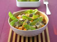 Curry mit Auberginen und Kaiserschoten
