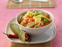 Curry mit Kürbis, Süßkartoffeln, Kohl und Bohnen Rezept