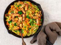 Curry-Reis-Pfanne mit Chinakohl, Möhrenstreifen und Teriyaki-Tofu Rezept