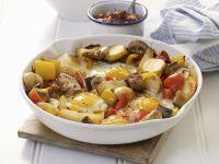 Deftige Pilz-Kartoffelpfanne mit Spiegelei Rezept
