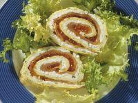 Eier-Lachs-Röllchen mit Kaviar und Hüttenkäse Rezept