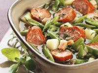 Eintopf aus grünen Bohnen mit Speck und Mettwurst Rezept