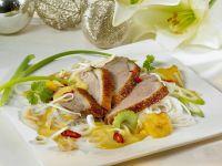 Ente mit Currysauce und Gemüse