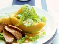 Entenbrust mit Melone und Blattsalat Rezept