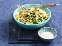 Erbsen-Spaghetti mit Speck Rezept
