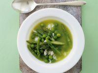 Erbsen-Spargel-Suppe mit Reis