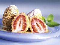 Erdbeerbällchen mit Vanillesoße Rezept