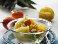 Exotische Früchte im Wok gebraten Rezept