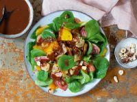 Feldsalat mit Topinambur und Schoko-Orangen-Dressing Rezept