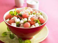 Feta-Wassermelonen-Salat mit Tomaten Rezept