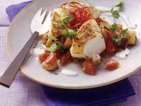 Fisch mit gemischtem Gemüse und Joghurt Rezept