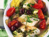 Fisch mit Gemüse aus dem Ofen Rezept