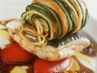 Fischfilet mit Gemüse-Spaghetti