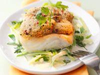 Fischfilet mit Nuss-Kräuterkruste und Lauchgemüse Rezept