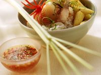 Fischfondue mit Reis Rezept