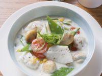 Fischragout mit Gemüse in Sahnesoße Rezept