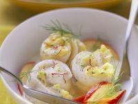Fischröllchen mit Safran und Apfelstücken Rezept