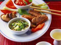 Fondue mit Ente und verschiedenen Saucen Rezept