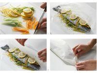 Forelle mit Gemüse in Pergament braten Rezept